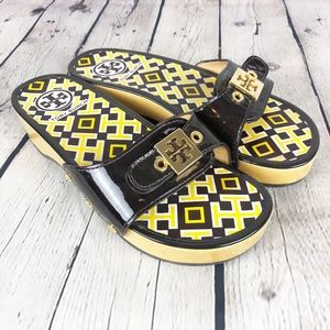 Tory Burch Dixon Sandals Brown Patent Leather 6